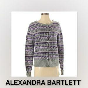Alexandra Bartlett Wool Cardigan Small Purple